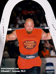 Don Pope takes the St. Louis Arch for a walk at Jim Davis's 2003 US Championships. IronMind® | Randall J. Strossen, Ph.D. photo.