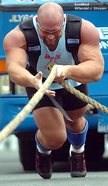 Don Pope finished third in the 2006 World's Strongest Man contest. Come to FitExpo and you can see Don, and a lot of other top strongmen, in person. IronMind® | Randall J. Strossen, Ph.D. photo.