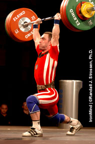 Vitali Dzerbianiou (Belarus) looked like he had this 153-kg jerk, but he ran out of platform trying to save it. IronMind® | Randall J. Strossen, Ph.D. photo.