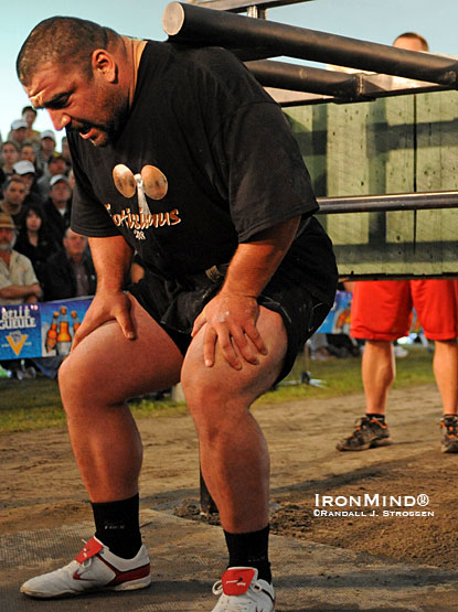 Strongman Champions League (SCL) is set for this weekend's contest in Serbia—home of Ervin Katona.  Here, he is shown competing at Fortissimus in 2008, where a strongman fan attending her first live contest told IronMind®'s Randall Strossen that Ervin Katona was her favorite competitor.  IronMind® | Randall J. Strossen photo.