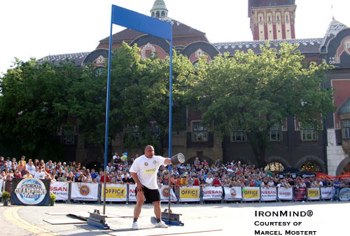 Ervin Katona, shown competing in Serbia last weekend, was the latest strongman to tear his biceps. SCL co-founder Marcel Mostert discusses the injury and how strongmen might avoid it. IronMind® | Photo courtesy of Marcel Mostert.