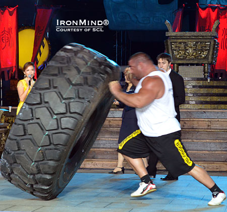 Ervin Katona on his way to a Guinness world record it the Tire Flip.  IronMind® | Courtesy of SCL.