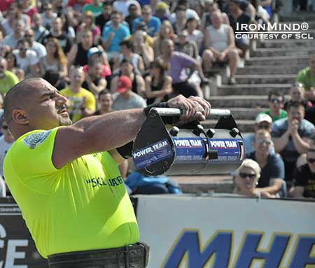 Ervin Katona in the zone at the MHP Strongman Champions League competition in Czech last weekend, where he broke the world record in the Forward Hold.  IronMind® | Photo courtesy of SCL.  IronMind® | Photo courtesy of SCL.