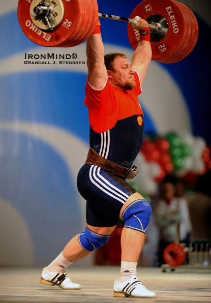 Evgeny Chigishev sticks 235 kg on his opening clean and jerk—all he needed for the 2010 European Weightlifting Championships super heavyweight title.  IronMind® | Randall J. Strossen photo.