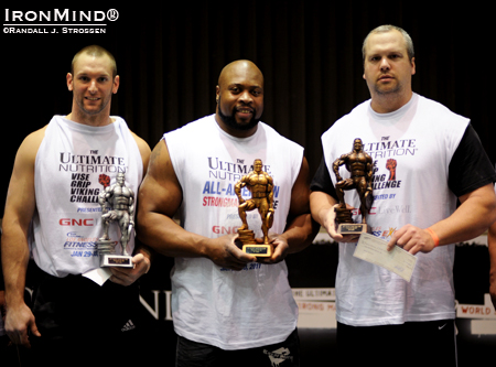 Here's the podium from the FitExpo grip contest (left to right): Andrew Durniat, second place ($1500), Mark Felix, first place ($2500), Chad Woodall, third place ($1000).  IronMind® | Randall J. Strossen photo.