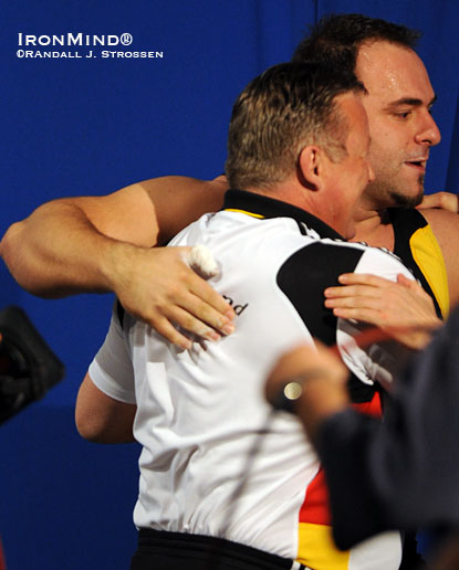 First to congratulate Almir Velagic after his big snatch at the European Weightlifting Championships last year was Frank Mantek (left).  The unity and camaraderie displayed by the German weightlifting team provides a lesson for all.  Randall J. Strossen photo.