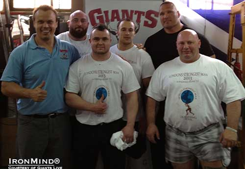 Left to right: Colin Bryce, Lloyd Renals,  Rob Mcgee,Markus Krummer,  Terry Hollands, and Dave Beatty.  IronMind® | Courtesy of Giants Live.