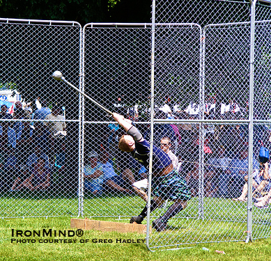 Greg Hadley hammered out another victory, taking the title at the New Brunswick Highland Games.  IronMind® | Photo courtesy of Greg Hadley.