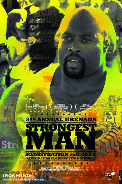 Grenadan World's Strongest Man veteran and the current Rolling Thunder world record holder Mark Felix will be at the 2012 Grenada's Strongest Man contest.  IronMind® | Artwork courtesy of Christopher Williams.