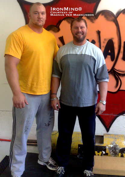 "Hafþór Júlíus Björnsson (left), standing 2.05 meters (nearly 6' 9"") tall, and weighing 170 kg, nearly dwarfs four-time World's Strongest Man winner Magnus Ver Magnusson (right).  IronMind® 