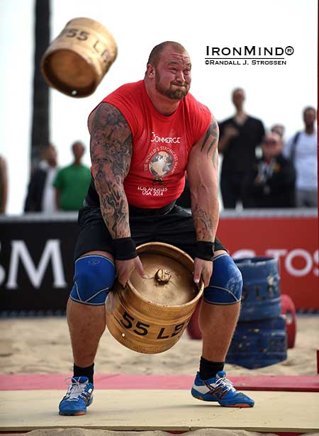 The fast firing human missile launcher Hafthor Julius Bjornsson triggered the next keg before the last one had landed in what was a world record performance at at the World's Strongest Man contest yesterday.  IronMind® | Randall J. Strossen photo
