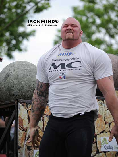 "Hafthor Julius Bjornsson blistered the Atlas Stones in world record time—was this matchup between ""Thor"" and Zydrunas a foretaste of what's coming up at the World's Strongest Man contest later this year?  IronMInd® 