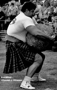 Think he's kidding about the length of his strongman career? Here's a shot of Heinz wrestling with the No. 5 McGlashen Stone at the 1994 European Musclepower Championships (Callander, Scotland). If you want to read the full contest report, get a copy of the October 1994 issue of MILO® (Vol. 2 - No. 3). IronMind® | Randall J. Strossen, Ph.D. photo.
