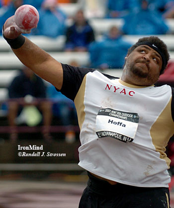 Reese Hoffa sailed to victory in the men's shot put today, with a best throw of 70 feet 5.25 inches. IronMind® | Randall J. Strossen, Ph.D. photo.