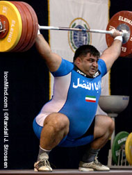 We call him the King of the Jungle: Two-time Olympic gold medalist Hossein Rezazadeh (Iran) holds all three world records in the super heavyweight category, so for him, snatching this 210 kg at the 2005 World Weightlifting Championships (Doha, Qatar) was just another day in the office. IronMind® | Randall J. Strossen, Ph.D. photo.