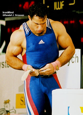 One of the most muscular lifters you'll ever see, Hossein Tavakoli was the 2000 Olympic gold medalist in the 105-kg category. IronMind® | Randall J. Strossen, Ph.D. photo.