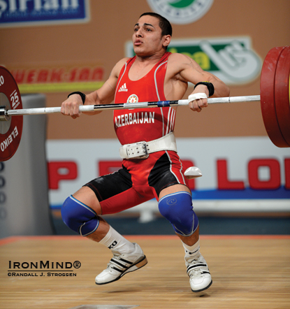 Valentin Hristov races under 155 kg: he won all three gold medals in the 56-kg category at the 2012 European Weightlifting Championships.  IronMind® | Randall J. Strossen photo.