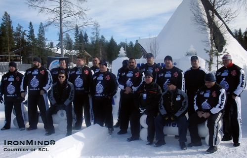 Group photo at the IceMan II, a strongman contest held in a stunning Arctic setting.  IronMind® | Courtesy of SCL.