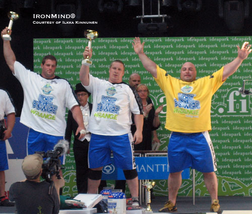 Andrus Murumets (center) won the Strongman Champions League contest in Ideapark - holding off top challengers Martin Wildauer (left), who finished third, and Vidas Blekaitis (right), who finished second. IronMind® | Photo courtesy of Ilkka Kinnunen.