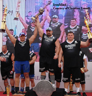 Vasyl Virastyuk won the IFSA World Championships today, followed by Michail Koklyaev and Zydrunas Savickas. Virastyuk won the 2004 World's Strongest Man contest, and he is the first person to win both of these competitions. IronMind® | Photo courtesy of Christian Fennell.