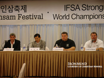 IFSA's Christian Fennell, Zydrunas Savickas and Magnus Ver Magnusson at the press conference announcing the upcoming IFSA World Championships, September 9 - 15 in Geumsan, Korea. IronMind® | Photo courtesy of Christian Fennell.