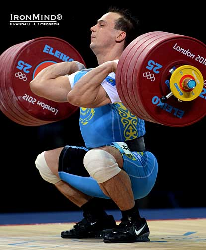 Ilya Ilin (Kazahkstan) cleaned 233 kg  (and then jerked it) as he pounded the field and rewrote the Olympic and world record books on his way to defending his Olympic title in the men's 94-kg category in weightlifting tonight.  IronMind® | Randall J. Strossen photo.