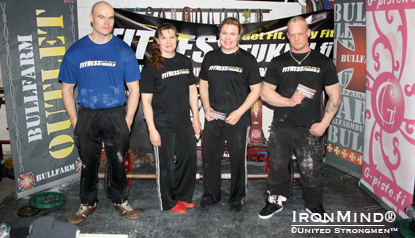 Pictured (left to right) are Jarno Hyväri (left), Leena Nurminen, Jaana Tanner and Tuomo Anttilan with the tour sponsor Fitnesstukku gift cards at the IronMind Grip Classic (second Finnish qualifier) held at Bullfarm gym in Tampere, Finland last weekend.  Photo courtesy of United Strongmen™.
