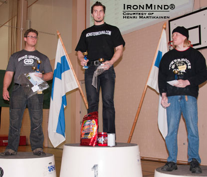 Here's the men's podium at IronMind Grip Classic–Volume 1  today: Timo Tuukkanen (left), Johannes Suomela (center), Timo Lauttamus (right).  This contest was organized by Jyrki Rantanen with the goal of featuring classic feats of grip strength in a way that would open the door to more competitors and create an opportunity for breaking Finnish national records.  IronMind® | Courtesy of Henri Martikainen.
