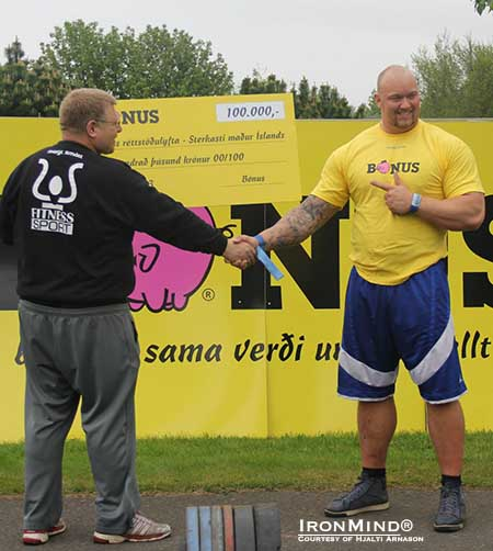 Halti Arnason (left) congratulates Hafthor Julius Bjornsson, winner of the 2013 Iceland's Strongest Man contest.  IronMind® | Photo courtesy of Hjalti Arnason.