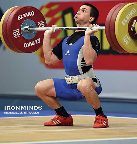 Ivalyo Filev gets under 163 kg on his second attempt in the clean and jerk.  IronMind® | Randall J. Strossen photo