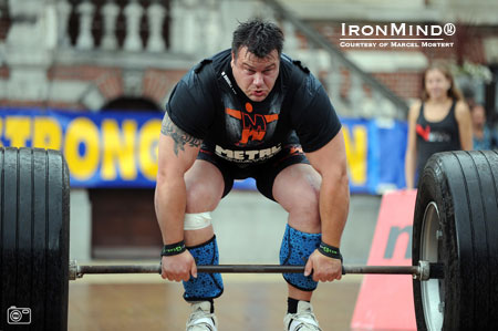 Jarno Hams on the max deadlift at the 2012 Holland's Strongest Man contest, a title he won for the seventh time last weekend.  IronMind® | Photo courtesy of Marcel Mostert.