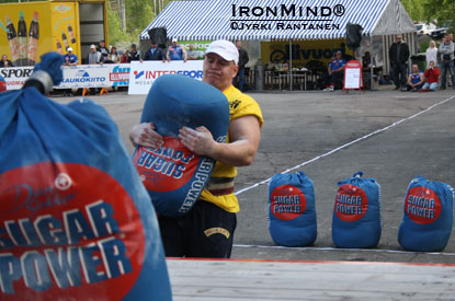 """Finland's Strongest Man 2011, Jarno Jokinen, in sack loading—where he edged out last year's champion Pedro Karlsson and took the title he was looking for 13 years,"" reported Jyrki Rantanen.   IronMind® 
