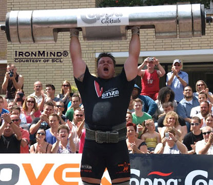 Jarno Hams broke the Dutch record in the Log Lift with this 182.5 kg success.  IronMind® | Photo courtesy of SCL.