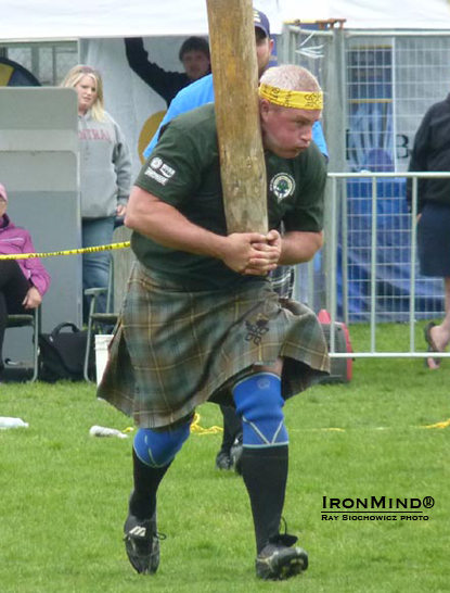 Jason Johnston won the caber, not to mention the overall title, at the 2012 Canadian Highland Games Championships, in Victoria, British Columbia.  IronMind® | Ray Siochowicz photo.