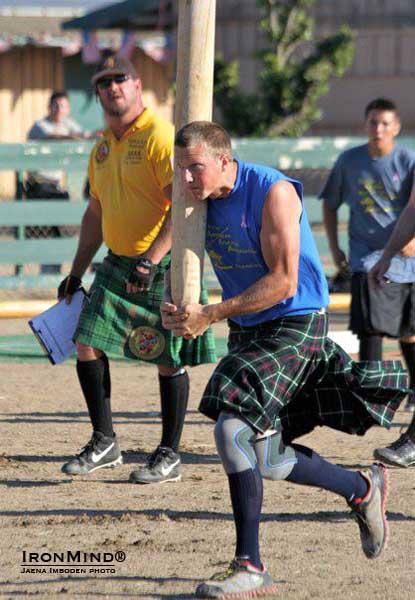 Jeff Thornton, 2012 SAAA Highland Games Lightweight world champion, on the caber.  IronMind® | Photo courtesy of Jaena Imboden.