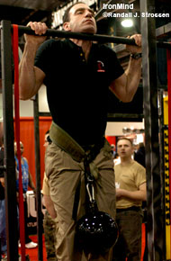 At the 2004 Arnold, Jeff Martone casually knocked off this pull-up with an extra 96 pounds for Randall Strossen, if we are reading the good doctor's notoriously-scribbled notes correctly. Come to the CrossFit San Diego Seminar this Saturday and Sunday, and meet Jeff in person. IronMind® | Randall J. Strossen, Ph.D. photo.