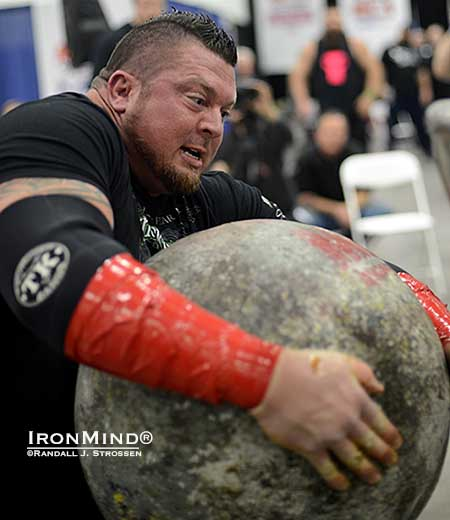 Shown working on the last stone in the last event, Jerry Pritchett finished with two event wins and took the title at the 2014 All American Strongman Challenge champion.  IronMind® | Randall J. Strossen photo