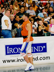 Jesse Marunde working the crowd at Jim Davis's 2003 Extreme Strongman Challenge (St. Louis, Missouri). IronMind® | Randall J. Strossen, Ph.D. photo.