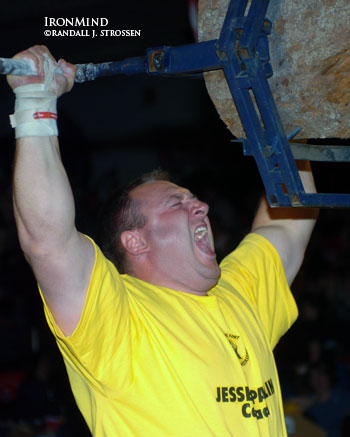 Jessen Paulin, shown at the 2004 World Muscle Power Championships, is considered one of the men who will be pushing Hugo Girard the hardest this weekend at the Canada's Strongest Man contest. IronMind® | Randall J. Strossen, Ph.D. photo.
