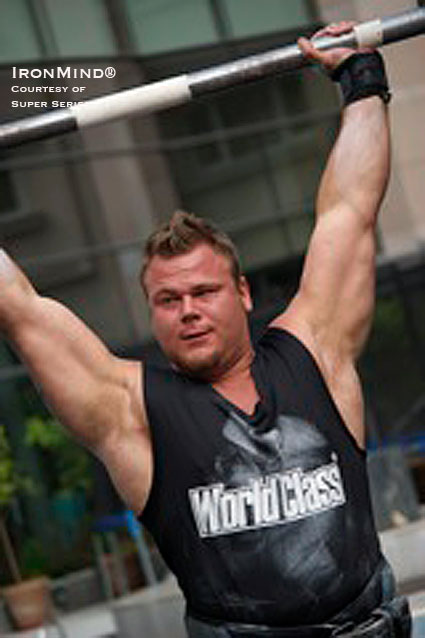 Johannes Årsjö, winner of Sweden's Strongest Man last weekend, will be competing in World's Strongest Man later this month and at the Super Series contest at Muscle Beach in November.  IronMind ® | Photo courtesy of Worldstrongman Super Series.