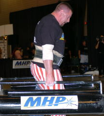Karl Gillingham turned in another great performance at the GNC Show of Strength last weekend, and he is expected be among the top competitors invited to the strongman event at the 2005 Fit Expo. IronMind® | Randall J. Strossen, Ph.D. photo.