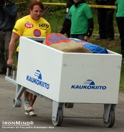 Kati Luoto, winner of Finland's Strongest Woman 2011,  in the Wheelbarrow Race.  IronMind® | Courtesy of Finland's Strongtest Man.