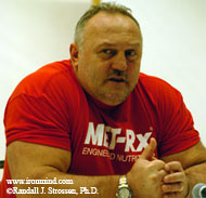 Bill Kazmaier gives tonight's Mohegan Sun Grand Prix the thumbs up, as guys get one last chance to qualify for the 2005 MET-Rx World's Strongest Man contest. IronMind® | Randall J. Strossen, Ph.D. photo.
