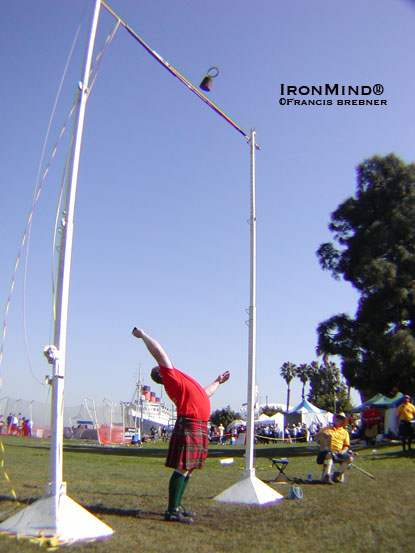 Ken Lowther made his debut as a masters' competitor in the Highland Games, breaking the field record for the 42-lb. weight for height as he swept all eight events.  IronMind® | Francis Brebner photo.