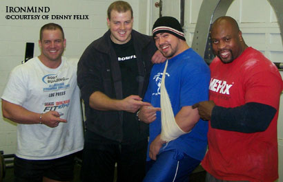 """Smiles all around,"" Denny Felix told IronMind®, as (left to right) Jason Bergman, Dave Ostlund and Mark Felix share the pain of Kevin Nee's arm injury, which forced him out of the lineup for the upcoming WSMSS Mohegan Sun Grand Prix. IronMind® 