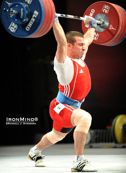 This how close Iran's Kianoush Rostami came to making a 219-kg clean and jerk on his second attempt.  IronMind® | Randall J. Strossen photo.