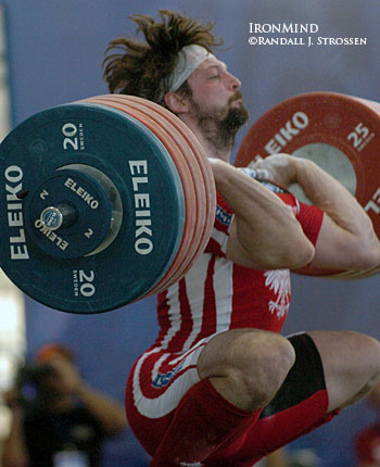 Polish star Szymon Kolecki had to bounce a couple of times before being able to recover with this 219-kg clean in the 94-kg category, but once he stood up with it, he put away the jerk at the 2006 World Weightlifting Championships (Santo Domingo, Dominican Republic). IronMind® | Randall J. Strossen, Ph.D. photo.