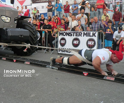 Konstiantyn Ilin (Ukraine) pulled off the victory at SCL–Slovakia.  IronMind® | Courtesy of Strongman Champions League.