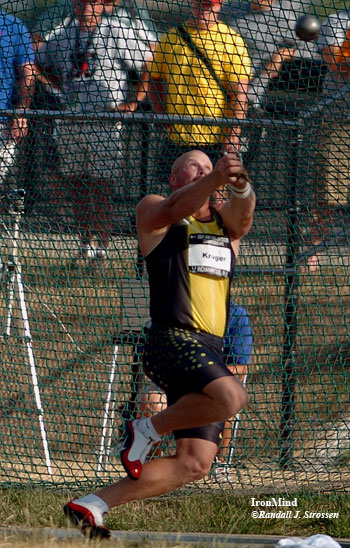 A.G. Kruger on his way to the men's hammer title at the USA National Outdoor Track and Field Championships. IronMind® | Randall J. Strossen, Ph.D. photo.