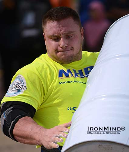 SCL Malaysia was the Grand Finale for the MHP Strongman Champions League 2013 season—Kryzsztof Radzikowski (shown on the Barrel Loading event) was among those delivering outstanding performances, which will be  broadcast on Eurosport on January 2.  IronMind® | Randall J. Strossen photo